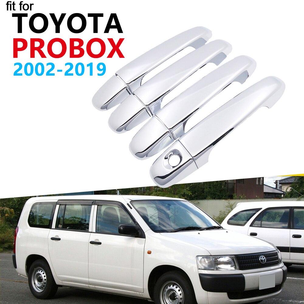 Luxurious Chrome Door Handle Cover Trim Set for Toyota Probox 2002~2019 Accessories Car Stickers 2013 2014 2015 2016 2017 2018(China)