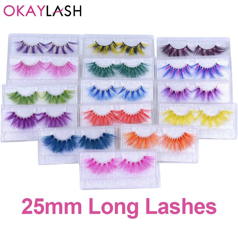 Длинные сибирские разноцветные радужные ресницы OKAYLASH 25 мм, 27 мм, новейший стиль, для вечерние ринки, макияжа, праздника, по оптовой цене