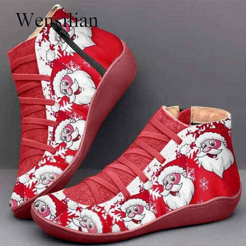 Retro Winter Laarzen Vrouwen Sneeuw Enkellaarsjes Kerst Lederen Schoenen Lace Up Platte Schoenen Vrouw Korte Bruine Laarzen Botas Mujer