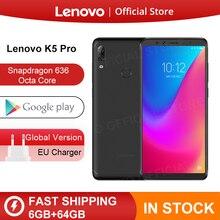글로벌 롬 레노버 K5 Pro 6 GB 64 GB 금어초 636 Octa Core Four 카메라 5.99 인치 18:9 4G LTE 전화 4050 mAh 스마트 폰