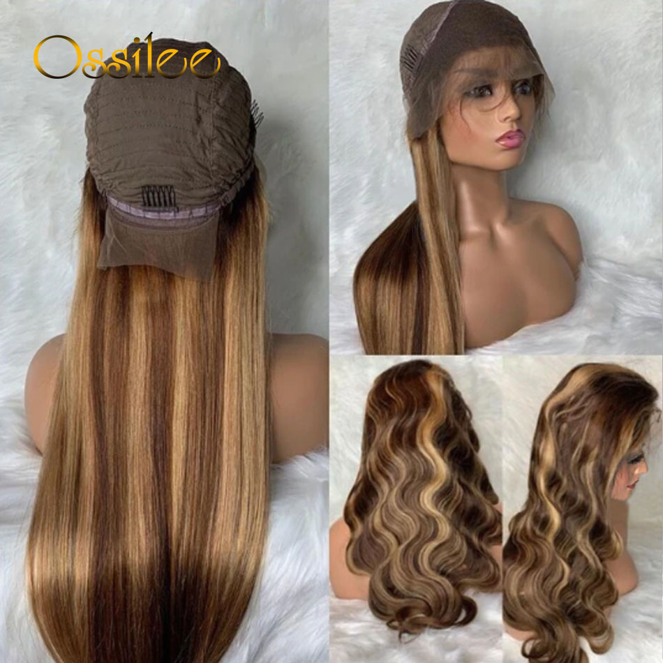 Ossilee Straight Highlight Wig 4x4 Closure Wig Piano Color 13x4 Lace Front  Wigs 4/27 Ombre  13x6 Lace Front Wig 4