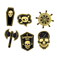 Black Coffin Skull Ship helm Rudder Battle Ax Brooch Pins Button Punk Gold Silver Enamel Lapel Pin Badge Gothic Jewelry Gift Kid pink skeleton enamel pin punk cool skull brooch lapel pin simple icons pins button badge cartoon fashion jewelry gift