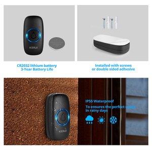 Image 5 - KERUI M523 Wireless Doorbell Kit Waterproof Touch Button 32 Songs Colorful LED light Home Security Smart Chimes Doorbell Alarm