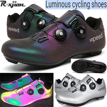 R.XJIAN brand high quality luminous cycling shoes couple mountain road bike shoelace lock lockless bicycle shoes size 36-48