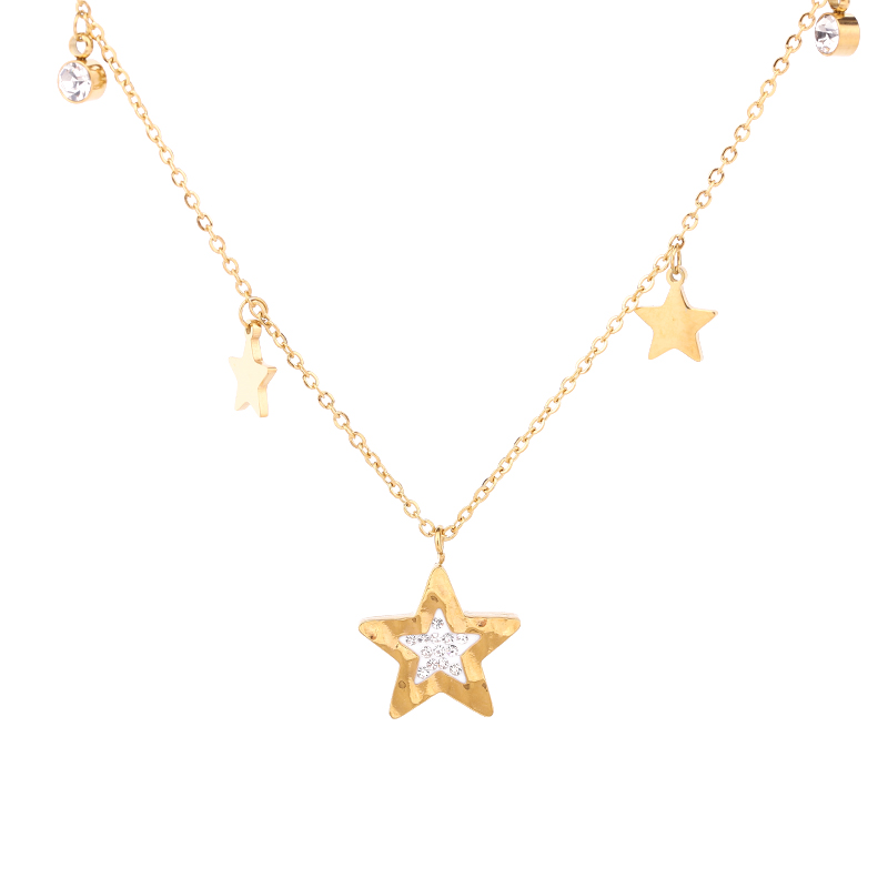 Star Pendant Fashion Jewelry Stainless Steel Necklace For Women Party Gift Acero Collar Para Mujer Girls Neck Chain LXL00017