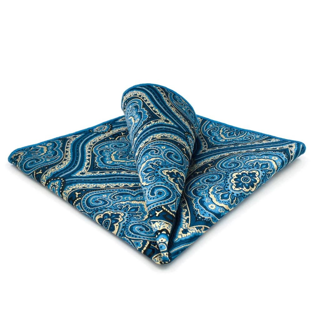 GH07 Blue Geometric Mens Pocket Square Silk Business Classic Handkerchief Designer Party Hanky