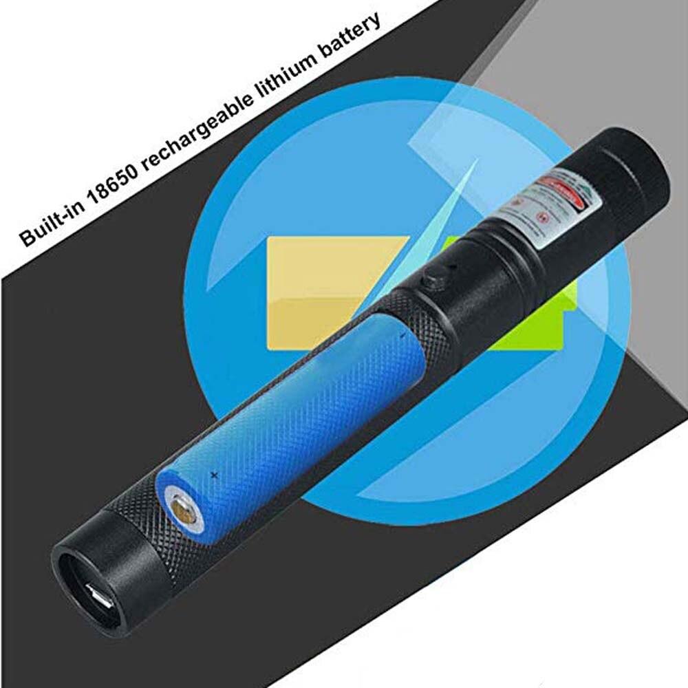 Высокая мощная USB Зеленая лазерная указка встроенный аккумулятор Красный лазерный прицел 10000 м 5 мВт Регулируемый фокус лазер лазеры 303 ручк...