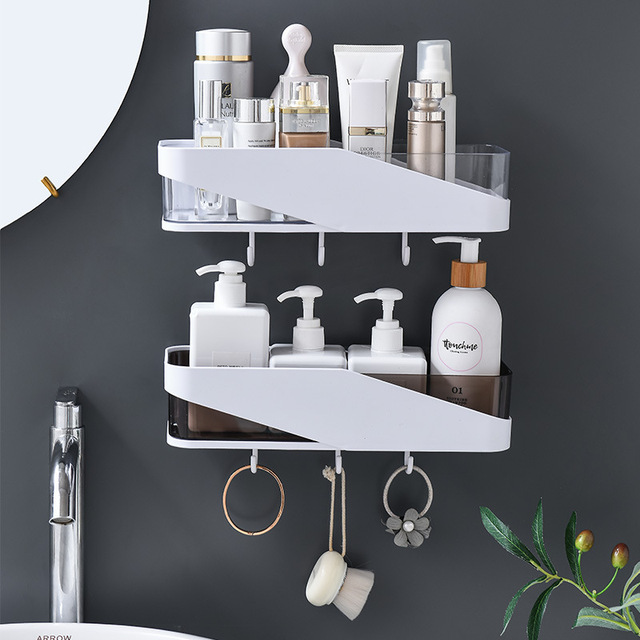 Punch free Bathroom Organizer Shelf Shampoo Cosmetic Coat Hook Storage Rack Wall Mounted Household Items Bathroom Accessories