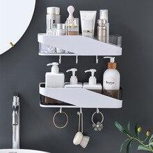 Punch livre organizador do banheiro prateleira shampoo cosméticos casaco gancho rack de armazenamento fixado na parede artigos do agregado familiar acessórios do banheiro