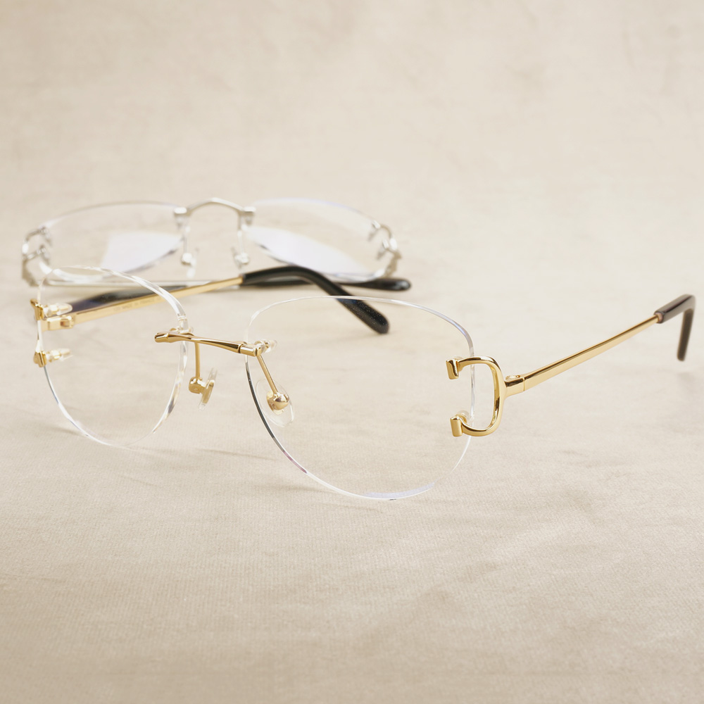 Rimless Glasses Frame Oval Prescription Glasses Carter Eyeglasse Luxury Clear Eyewear Transparent Spectacles Frame For Computer