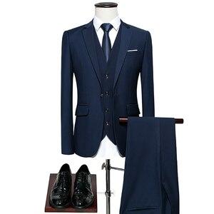 Men Wedding Suit Luxury Male Blazers Slim Fit Men Business Formal Party Blue Classic Black M-6XL tuxedo Male Suits