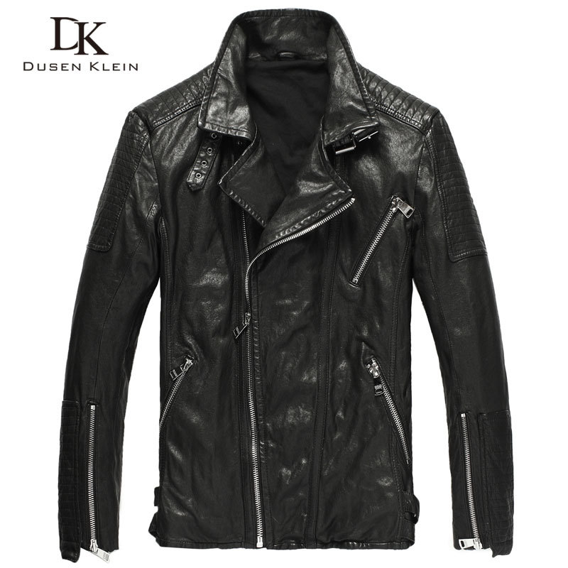Men Genuine Leather Jacket Real Sheepskin Tanned Leather Jackets 2020 Spring New Biker Jacket Short Slim Fit Brand DK074