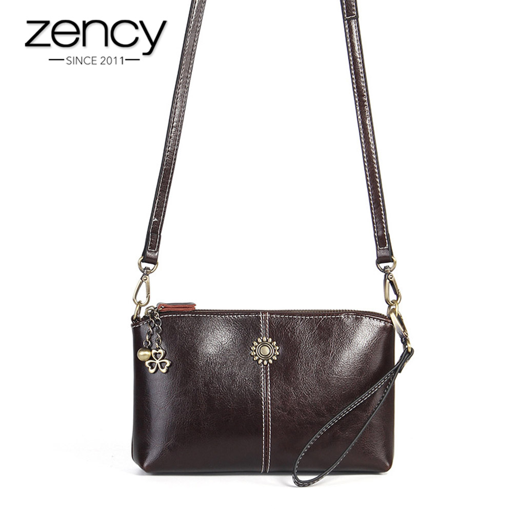 Zency 100% Genuine Leather Retro Women Messenger Purse Day Clutches Fashion Lady Shoulder Crossbody Bags Black Brown Handbag
