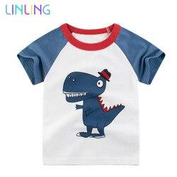 Детская футболка с короткими рукавами, с мультяшным принтом, летняя одежда для мальчиков