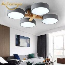 220V LED lampy sufitowe z okrągłym metalowy abażur do salonu nowoczesne do montażu na suficie jasne drewno lampka do sypialni w Oświetlenie sufitowe od Lampy i oświetlenie na