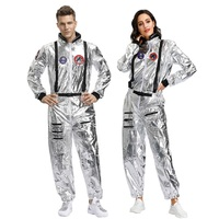 Halloween Costumes For Women Men Astronaut Male Space Cosplay Clothing Dazzling Jumpsuits Coated Onesies Sets Silver M L XL