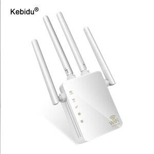 Image 1 - Kebidu 2,4G/5G Беспроводной Wi Fi ретранслятор двухдиапазонный AC 1200 Мбит/с 4 антенны Усилитель мостового сигнала проводной маршрутизатор Wi Fi доступ