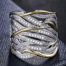 Huitan forma única anel feminino casamento nupcial cerimônia anéis de alta qualidade especial interesse versátil acessórios na moda anéis