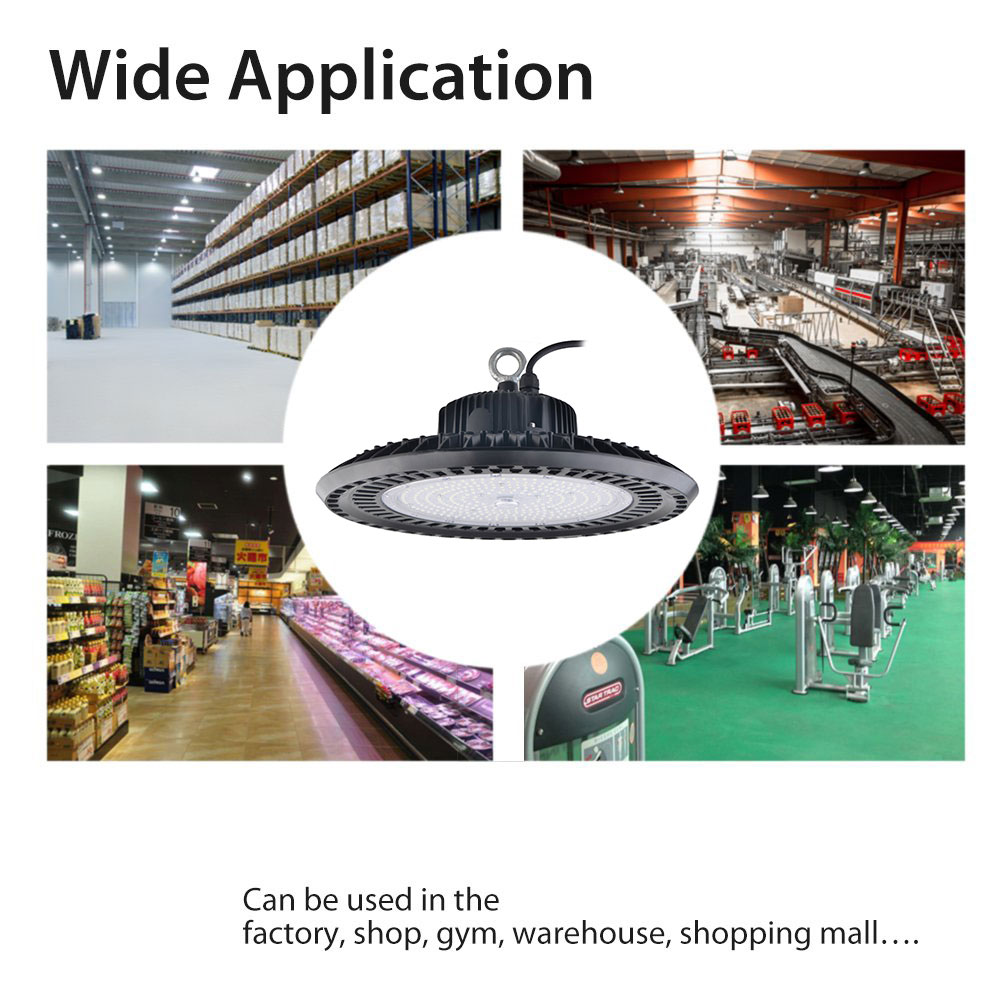 50W-200W 14000lm 6500K Daylight Industrial Commercial Bay Lighting For Warehouse Workshop LED High Bay Light Fixture