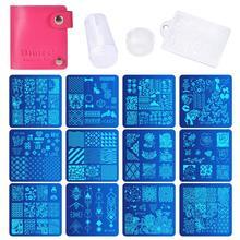 Biute placas de manicure para unhas, 12 peças + 1 carimbo de esmalte + 1 conjunto de raspador, placa de carimbo para arte de unha kit de raspador de carimbo