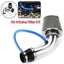 цена на 3'' Chrome Universal Car Cold Air Intake Filter Induction Pipe Hose System Kit