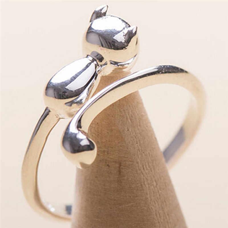 1 adet açık tasarım sevimli moda takı yüzük ayarlanabilir yüzük kedi kulak parmak yüzük kadınlar için genç kız çocuk hediyeler toptan