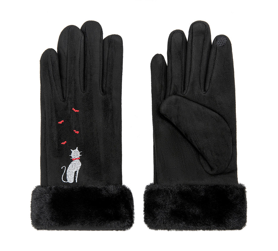 Winter Women Touch Screen Gloves with Embroidery made with a Special Conductive Fabric into Finger Tips for fast Navigation of All Touch Screen Device 20