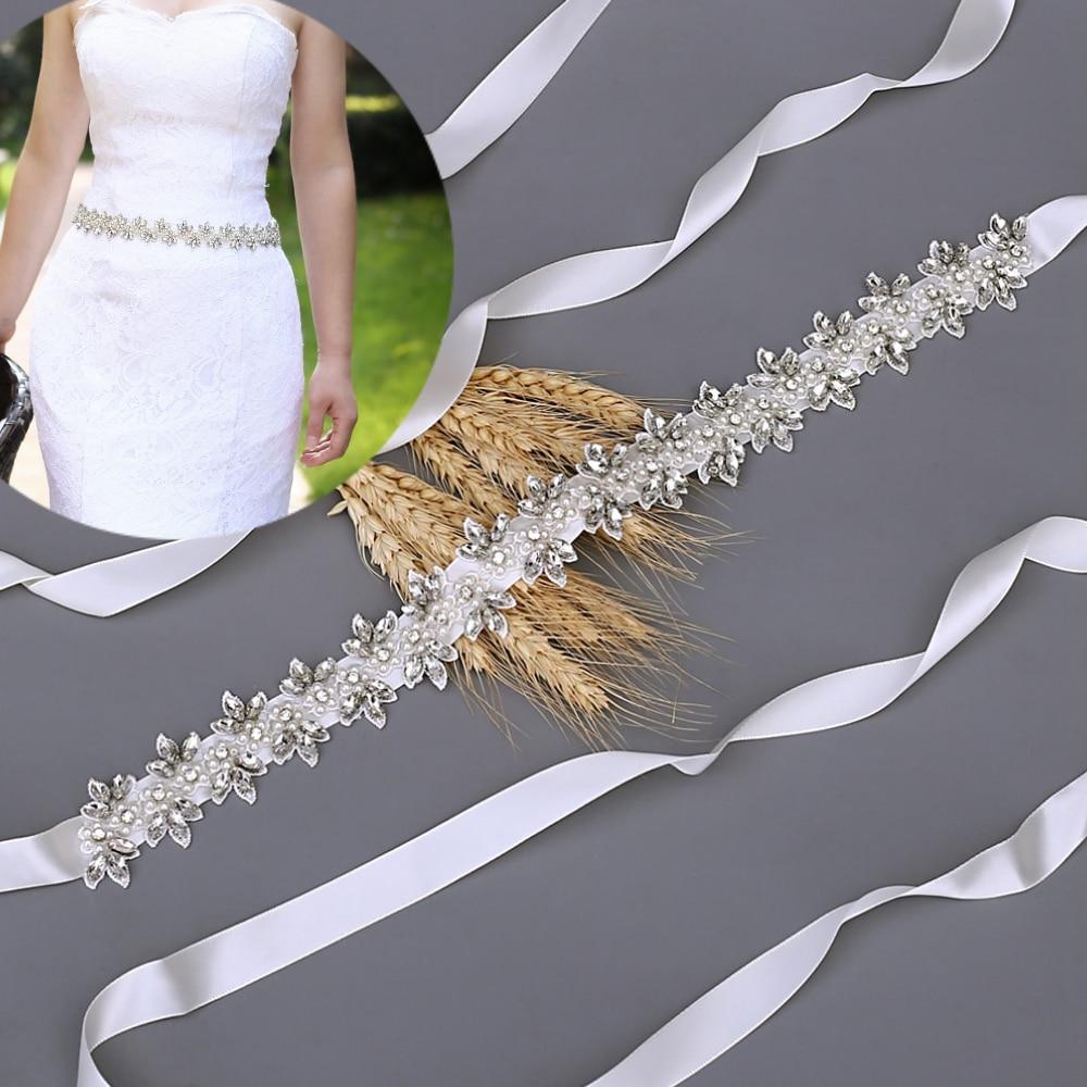 TOPQUEEN  Wedding Dress Sashes Formal Women Dress Belt Pearl Ribbon Jewel Belt Women's Belts Weeding Accessoire Silver Belt S275