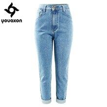 1886, Youaxon, хлопок, Ретро стиль, высокая талия, джинсы для мам, женские, синие, черные, джинсовые штаны, бойфренд, джинсы для женщин