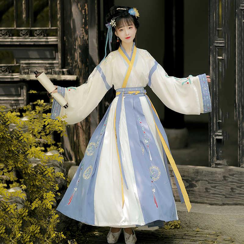 โบราณเต้นรำเครื่องแต่งกาย Hanfu ผู้หญิงเย็บปักถักร้อย Fairy ชุดนักร้องคอสเพลย์เสื้อผ้าพื้นบ้านเทศกาล RAVE ชุด DC4949