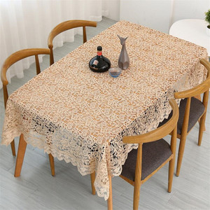 Image 5 - Proud Rose Light Coffee Embroidered Table Cloth European Lace Tea Table Cloth Home Decor Rectangular Tablecloths Table Cover