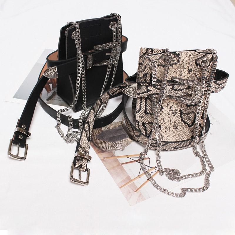 Waist Bag Women Fashion Serpentine Leather Fanny Pack High Quality Mini Waist Belt Bag Lady Travel Chest Bags Small Phone Purse
