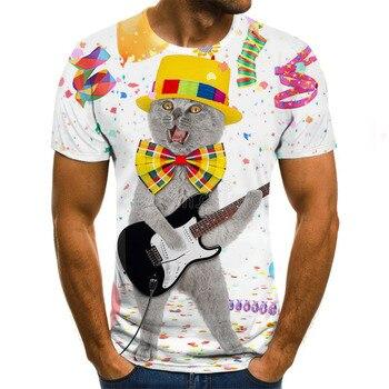 Casual Summer Cute Cat Pattern T-shirt Streetwear Men 's Clothing Print Short-sleeved O-neck Top 3D Animal motorcycle slim t shirt men s tide long sleeved t shirt men s milk silk round neck casual men s autumn blouse