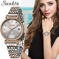 SUNKTA חדש עלה זהב נשים שעון עסקי קוורץ שעון גבירותיי למעלה מותג יוקרה נקבה שעון יד ילדה שעון Relogio Feminin