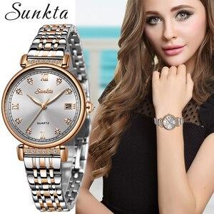 Image 1 - SUNKTA New Rose Gold Women Watches Business Quartz Watch Ladies Top Brand Luxury Female Wrist Watch Girl Clocks Relogio Feminin