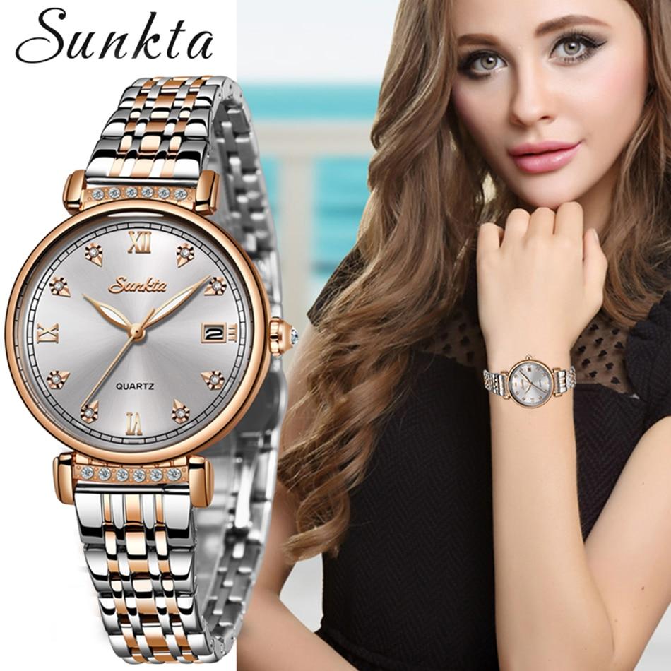 Sunkta nova rosa ouro relógio feminino relógio de quartzo de negócios senhoras marca superior luxo feminino relógio de pulso menina relogio feminino