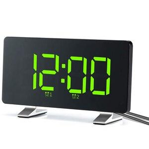 Budziki do sypialni z radiem FM, podwójne alarmy, 6.7 Cal LED Sn, Port USB do ładowania, 4 jasność, 12/24H