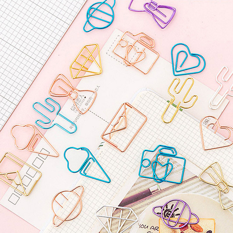 10Pcs Mini Metal Clips Kawaii Heart Clips Ticket Holder Retro Cactus Clips For Kids Korean Stationery School Office Supplies