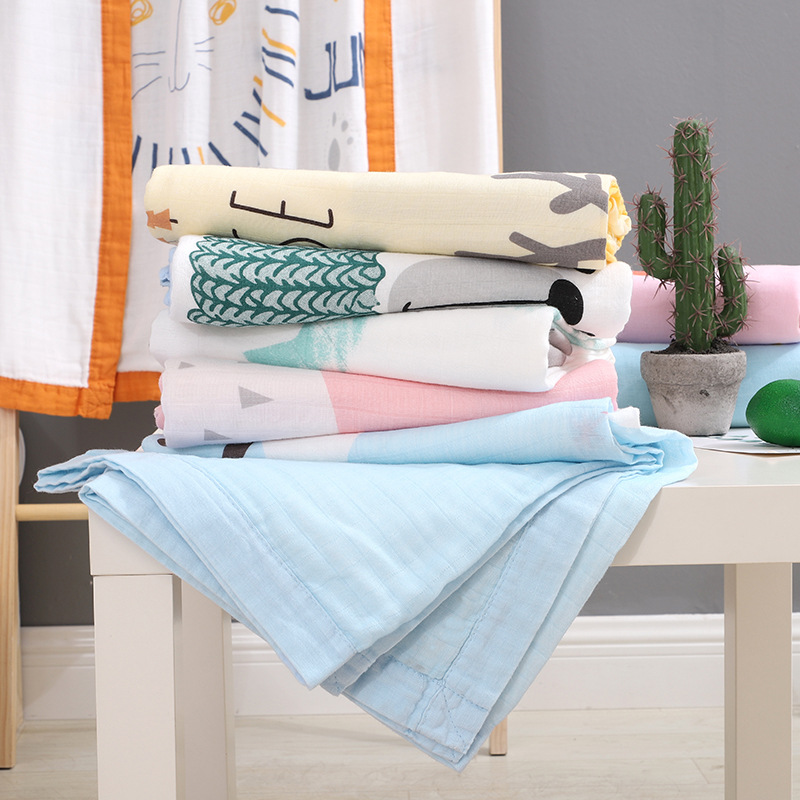 Four-layer Cotton Child Quilt Bamboo Fiber Baby Bath Towel Baby Stroller Cover Blanket Newborn Wrap Towel