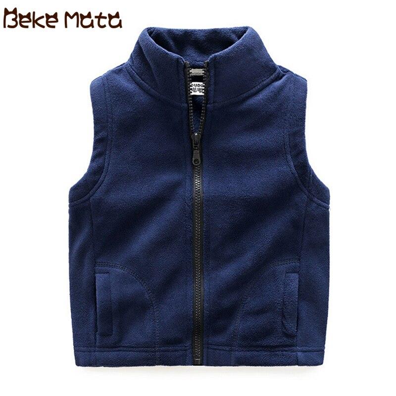 Kids Vest For Boys 2019 Autumn Fleece Solid Child Girls Vests Cotton Warm Turtleneck Children's Jacket School Boy Clothing 3-13Y