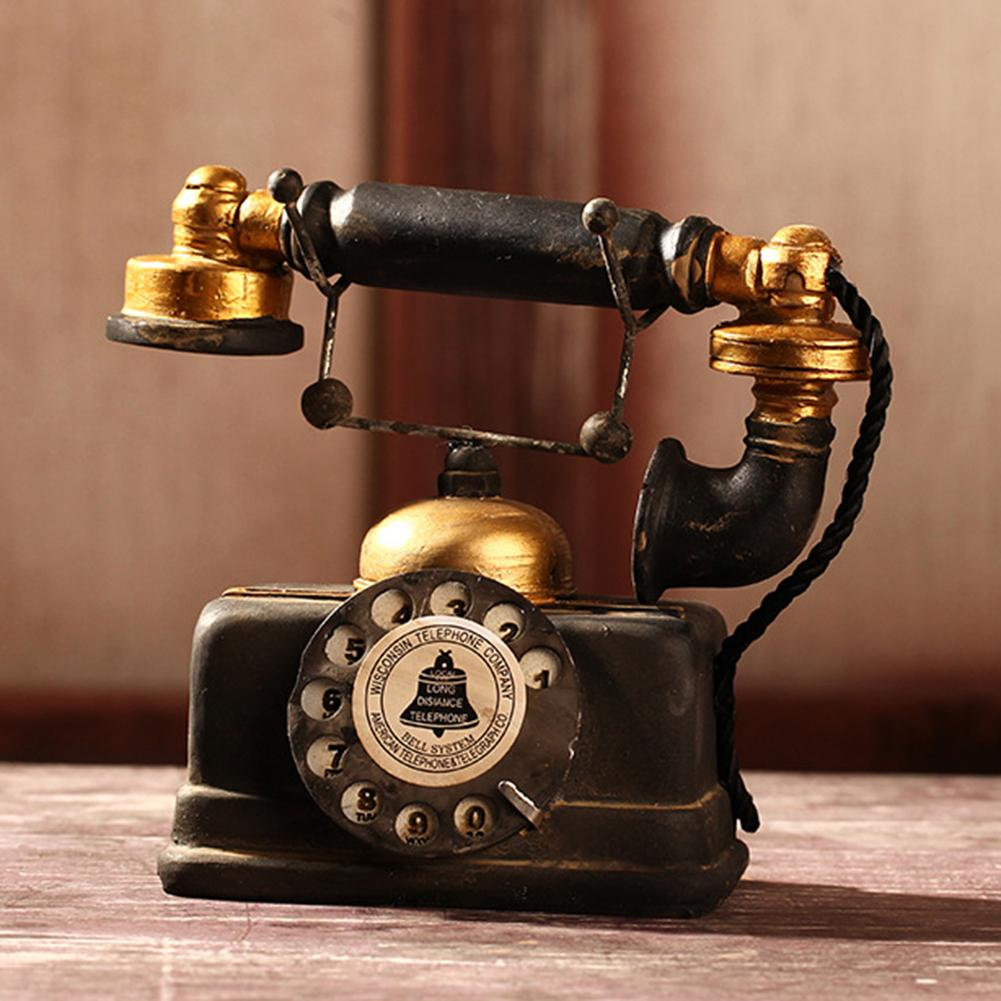 New Vintage Resin Telephone Model Miniature Craft Photography Props Bar Home Decor Retro Furniture Figurines Phone Miniature