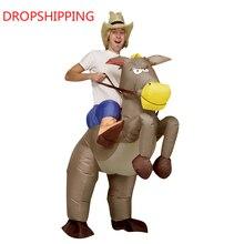 Opblaasbare Fancy Kostuum Halloween Opblaasbare Cowboy Outfit Paard Kostuum Purim Festival Stag Night Party