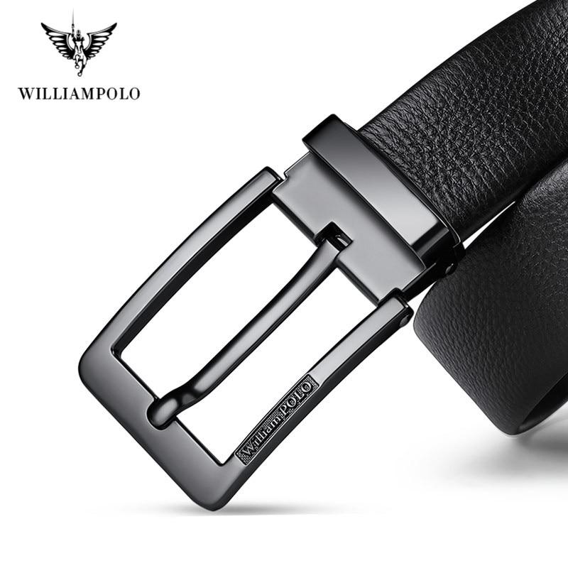 Image 3 - WilliamPolo brand design New casual business fashion Belt full grain leather Belt Silvery Belt Mens belt Pin Buckle Waist BeltMens Belts   -