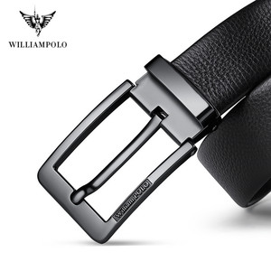Image 3 - WilliamPolo brand design New casual business fashion Belt full grain leather Belt Silvery Belt Mens belt Pin Buckle Waist Belt