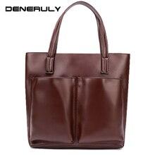 Women Genuine Leather Tote Bag Ladies Large Vintage Top-Handle Real Skin Luxury Handbags Women Bags Designer 2019 Sac Main Femme