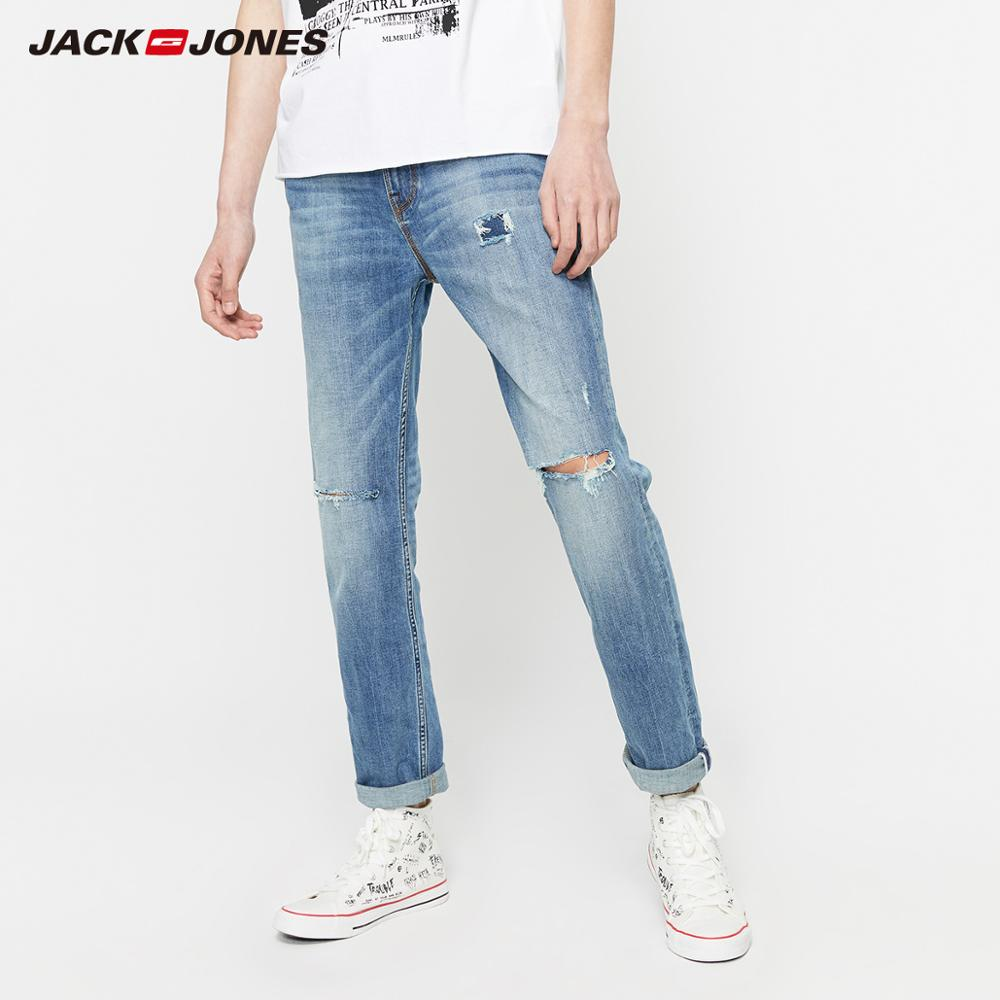 JackJones Men's Casual Slim Fit Cotton Ripped Patch Tight-leg Jeans Menswear| 219332558