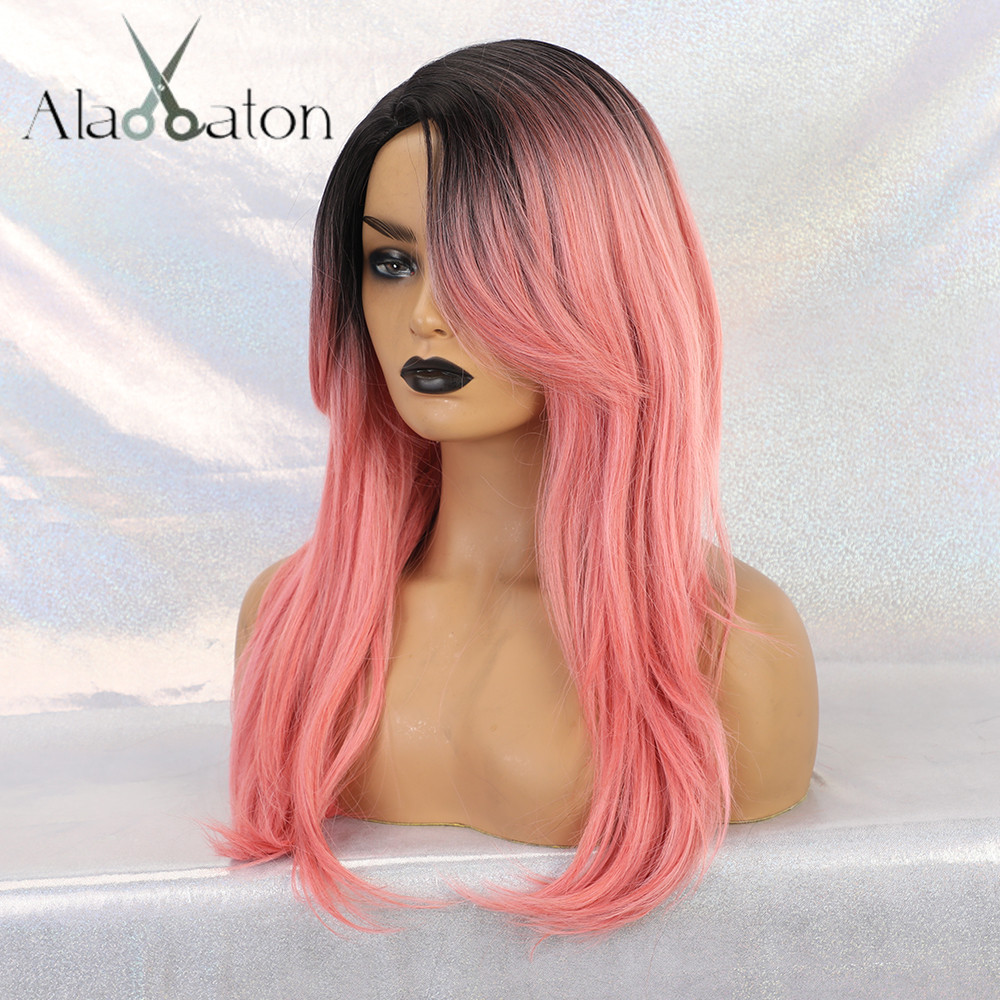 ALAN EATON Black Ombre Pink Wigs Heat Resistant Hair Lolita Cosplay Party Women Synthetic Wigs Long Straight Wigs Natural Wigs