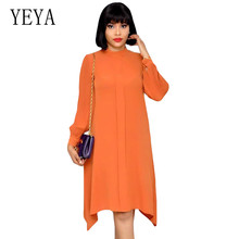 YEYA Fashion Autumn Dresses Women Long Sleeve O Neck Loose Leisure Solid Vestidos Elegant Hollow Out Casual Dress Large Size 2XL цены