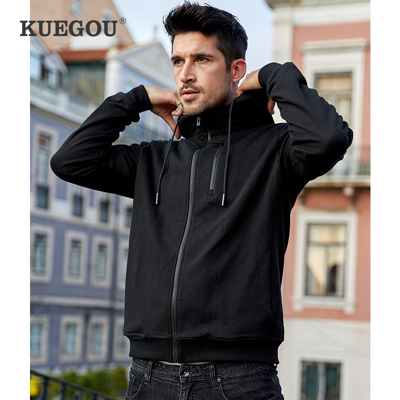 KUEGOU 2020 Spring Cotton Zipper Black Plain Hoodie Men Fashions Hoody Hip Hop Japanese Streetwear Male Hoodies Sweatshirts 4997