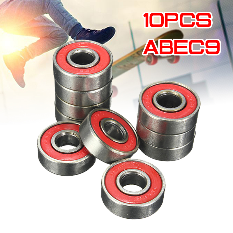 10x <font><b>ABEC</b></font>-<font><b>9</b></font> <font><b>608</b></font> <font><b>2RS</b></font> Inline Roller Skate Wheel Bearing Red Sealed 8x22x7mm shaft Bearing Anti-rust Skateboard Wheel image